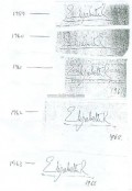 autopen autographs of Her Majesty The Queen. Elizabeth II, from 1959 (when autopen was first used) up to 1988) 1959-1963  reference:  Andrew Broughton