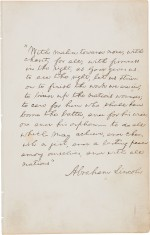 Lincoln autographed manuscript, quoting his second inaugural address, brings $2,213,000 at auction