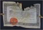 Restaurierung einer Pergament-Urkunde aus dem Jahr 1790, mit eigenhändiger Signatur von Katharina II., Maße 38 x 25 cm
